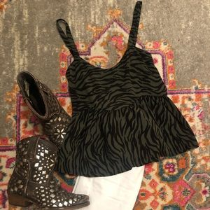 Animal Print Peplum Swing Camisole Hollister XS
